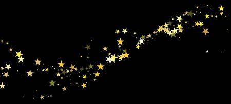 Vettore di stelle d'oro isolato. Trama festosa. Ghirlanda scintillante di vacanze invernali. Brillante brillantezza di celebrazione. Stelle dorate che cadono