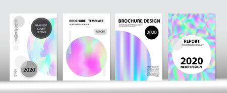 Holographic Gradient Vector Background. Dreamy Holo Bright Trendy Layout. Fluorescent Gradient Overlay Holograph Defocused Cover. Hologram Minimal Light Covers Set. Rainbow Magazine Print Template.