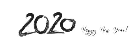 2020 Black White Cool Horizontal Vector Banner. Hand Painted Brush Stroke Winter Celebration Design. 2020 Trendy Funky New Year Ad Cover Foto de archivo - 134225877