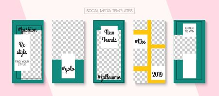 Social Stories Cool Vector Layout. Blogger Modern Cards, Social Media Kit Template. Online Shop Fashion Graphic Advert. Trendy Sale, New Arrivals Story Layout. Social Media Stories VIP Layout