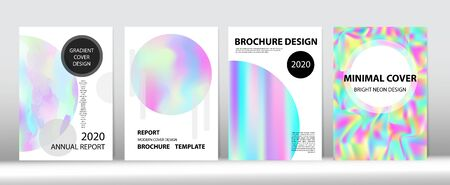 Holographic Gradient Vector Background. Hologram Minimal Light Covers Set. Liquid Holo Bright Trendy Layout. Rainbow Magazine Print Template. Iridescent Gradient Overlay Holograph Unfocused Cover. Ilustração