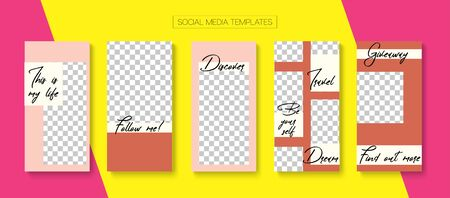 Mobile Stories Vector Collection. Blogger Funky Border, Social Media Kit Template. Hipster Sale, New Arrivals Story Layout. Online Shop Rich VIP Graphic Brand. Social Media Stories Collection