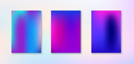 Purple, Pink, Turquoise, Blue Gradient Shiny Vector Background. Funky Vertical Screen Size Gradient Set. Dreamy Neon Bright Trendy Wallpaper. Iridescent Gradient Overlay Vibrant Unfocused Cover.