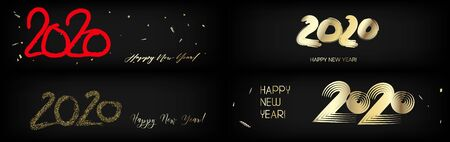 2020 Gold Red Horizontal Vector Banner Set. Dirty Teal New Year, Christmas Music Party Decoration.