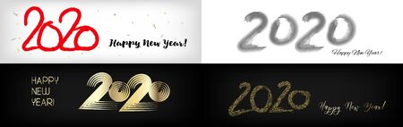 2020 Gold Red Horizontal Vector Banner Set. Hand Painted Brush Stroke Winter Celebration Design. Graffiti Card New Year, Christmas Music Party Ornament. 2020 Trendy Funky New Year Ad Cover