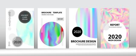 Holographic Gradient Vector Background. Iridescent Gradient Overlay Holograph Unfocused Cover.  Liquid Holo Bright Trendy Layout. Rainbow Magazine Print Template. Hologram Minimal Light Covers Set.