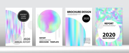 Holographic Gradient Vector Background. Rainbow Magazine Print Template. Fluid Holo Bright Trendy Layout. Hologram Minimal Light Covers Set. Pearlescent Gradient Overlay Holograph Unfocused Cover.  Ilustração