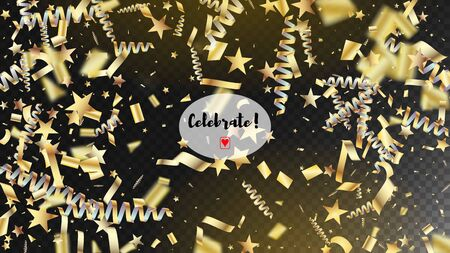 Modern Gold Confetti, Falling Stars, Streamers, Tinsel. Horizontal Stars Explosion Background. Cool Rich VIP Christmas, New Year, Birthday Party Holiday Pattern. Gold Confetti, Falling Down Stars.