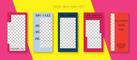 Mobile Stories Vector Collection. Trendy Sale, New Arrivals Story Layout. Online Shop Elegant Invitation Brand. Blogger Hipster Border, Social Media Kit Template. Social Media Stories Collection