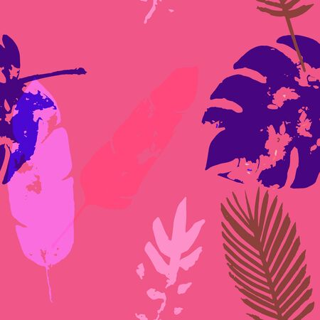 Palm, Banana Leaves Vector Seamless Pattern, Blue Pink Purple Indigo Floral Textile. Trendy Boho Jungle Leaves Winter Fabric. Female Uneven Background. Tropical Fabric Seamless Print