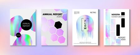 Holographic Gradient Vector Background. Hologram Business Soft Covers Set. Fluid Holo Bright Trendy Layout. Fluorescent Gradient Overlay Holograph Unfocused Cover.  Rainbow Magazine Print Template.