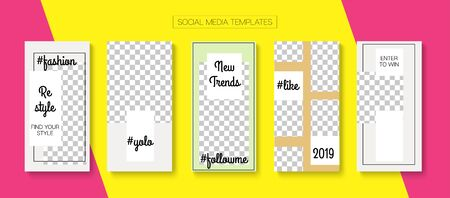 Social Stories Cool Vector Layout. Hipster Sale, New Arrivals Story Layout. Online Shop Luxury Graphic Brand. Blogger Tech Concept, Social Media Kit Template. Social Media Stories VIP Layout