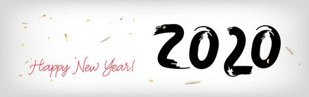 2020 White Black Red Horizontal Vector Banner. Stained Teal New Year, Christmas Music Party Decoration. Hand Painted Brush Stroke Winter Celebration Template. Modern 2020 New Year Ad Graphic Frame 版權商用圖片 - 138254841