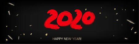 2020 Red, Black, Gold Horizontal Vector Banner. Dirty Shape Hand Painted Brush Stroke Winter Celebration Design. New Year, Christmas Music Party Decoration. 2020 Noble New Year Ad Flyer Design