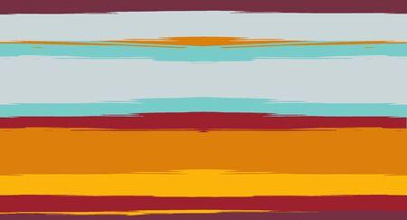 Orange, Brown Vector Watercolor Sailor Stripes Drawn Seamless Summer Pattern. Horizontal Brushstrokes Retro Vintage Grunge Textile Fashion Design. Ink Painted Doodle Lines, Geometric Track Prints
