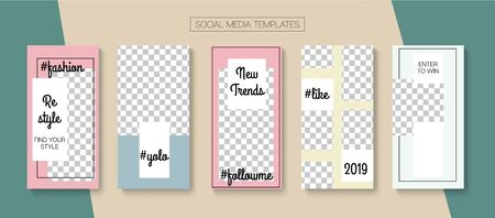Social Stories Cool Vector Layout. Tech Sale, New Arrivals Story Layout. Blogger Simple Design, Social Media Kit Template. Online Shop Elegant Graphic Advert. Social Media Stories VIP Layout