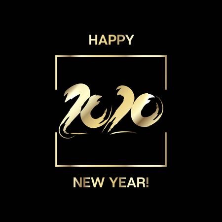 2020 Gold Black Rich Square Vector Banner. New Year, Christmas Music Party Decoration. Hand Painted Brush Stroke Winter Celebration Template. Graffiti Trail 2020 Trendy Funky New Year Ad Cover