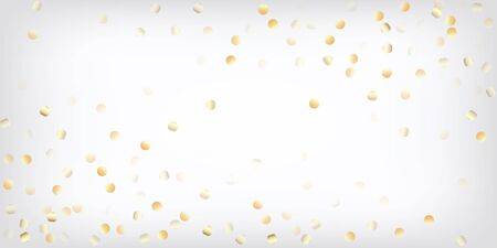 Gold, Silver VIP Falling Bokeh Confetti. Sparkling Winter Bokeh. Rich Gold, Silver Lights, Sparkles, Gradient Tinsel Confetti. Expensive Luxury New Year Christmas Garland Vector Background.