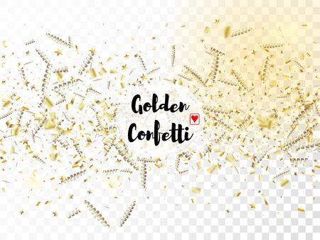 Modern Christmas Tinsel Confetti, Falling New Year Gold. Cool Elegant Christmas, New Year, Birthday Party Holiday Border. Horizontal Mystical Stardust Background. Gold Christmas Tinsel Confetti Illustration