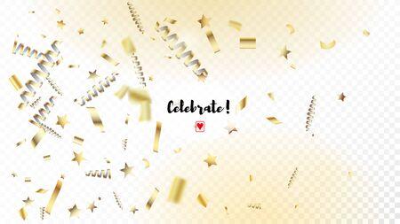 Modern Tinsel Confetti Isolated, Golden Celebration Foil. Horizontal Shiny Night Sky Background. Cool Elegant Christmas, New Year, Birthday Party Holiday Scatter. Golden Tinsel Confetti Isolated Illustration