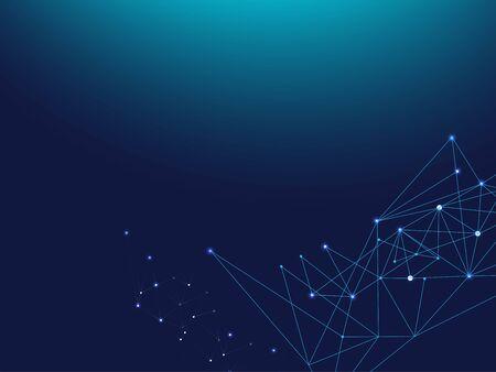 Blue Technology Space, Internet Cyberspace Data Concept. Galaxy Net Computing Design, Universe Star Sky. Lines Linked Plexus Vector Background. Big Data Information, Triangular Network Nodes.