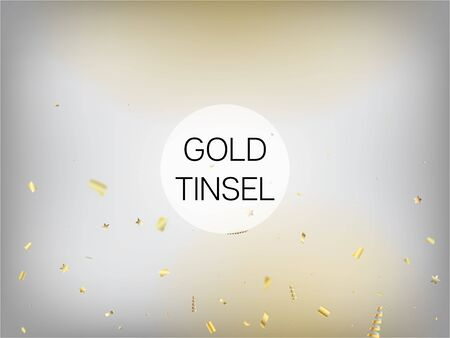 Modern New Year Confetti Realistic Falling Golden Tinsel.  Horizontal Lights Glitter Background. Cool Elegant Christmas, New Year, Birthday Party Holiday Scatter. New Year Confetti Golden Tinsel