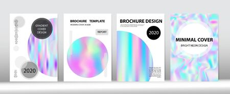 Holographic Gradient Vector Background. Liquid Holo Bright Trendy Layout. Rainbow Magazine Print Template. Fluorescent Gradient Overlay Holograph Unfocused Cover.  Hologram Minimal Light Covers Set.