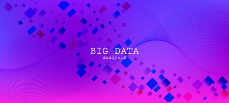 Falling Particles Distressed Purple Vector. Colorful Geometric Background. 3D Fluid Shapes Layout. Big Data Neon Wallpaper. Pink Blue Purple Futuristic Gradient Overlay. Data Analytics Cool Banner.