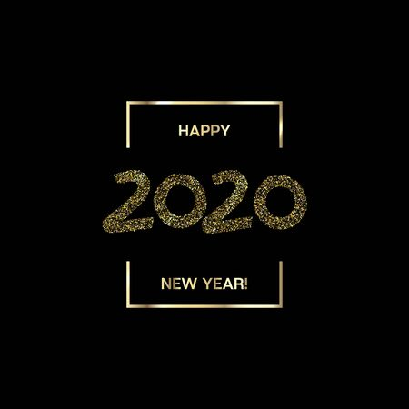 2020 Gold Black Rich Square Vector Banner. Graffiti Teal New Year, Christmas Music Party Ornament. Hand Painted Brush Stroke Winter Celebration Layout. 2020 Trendy Funky New Year Ad Cover Stock Illustratie