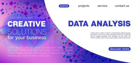 Flying Particles Distressed Purple Vector. Big Data Neon Wallpaper. Data Analytics Cool Banner. Pink Blue Purple Futuristic Gradient Overlay. 3D Flow Shapes Website. Funky Geometric Background.