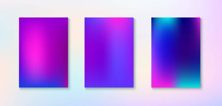 Purple, Pink, Turquoise, Blue Gradient Shiny Vector Background. Dreamy Neon Bright Trendy Wallpaper. Iridescent Gradient Overlay Vibrant Unfocused Cover. Funky Vertical Screen Size Gradient Set.