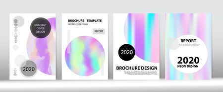 Holographic Gradient Vector Background. Hologram Minimal Light Covers Set. Rainbow Magazine Print Template. Liquid Holo Bright Trendy Layout. Iridescent Gradient Overlay Holograph Unfocused Cover.