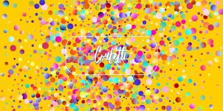 Carnival Confetti Explosion Vector Background. Colorful Circles, Bubbles, Glitter Decoration. Birthday, New Year, Christmas Party Confetti Rain Shower. Falling Color Tinsel, Fiesta Celebration Design.