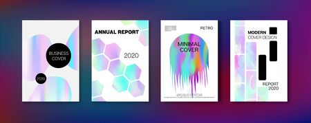 Holographic Gradient Vector Background. Hologram Business Soft Covers Set. Pearlescent Gradient Overlay Holograph Defocused Cover.  Fluid Holo Bright Trendy Layout. Rainbow Magazine Print Template.