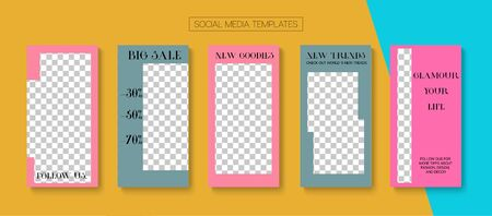 Mobile Stories Vector Collection. Blogger Modern Cards, Social Media Kit Template. Online Shop Fashion Graphic Mobile. Hipster Sale, New Arrivals Story Layout. Social Media Stories Collection 일러스트