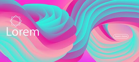 Dynamic Movement Trendy Wavy Web Site. Landing Page in Blue, Pink. Neon Color Website Layout. 3d Fluid Vibrant Background. Modern Liquid Flow Banner. Colorful Vivid Gradient Wallpaper.