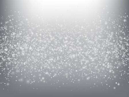 Falling Snow Confetti Winter Vector Background. Christmas, New Year Celebration Snowflakes Pattern. Realistic Flying Snow, Storm Sky Effect. Winter Ad Decoration. Falling Snow Winter Confetti On Gray
