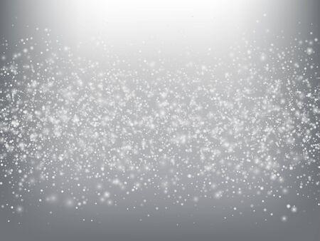 Chute de neige confettis hiver fond de vecteur. Noël, motif de flocons de neige célébration du nouvel an. Neige volante réaliste, effet de ciel de tempête. Décoration d'annonce d'hiver. Chute de neige hiver confettis sur gris