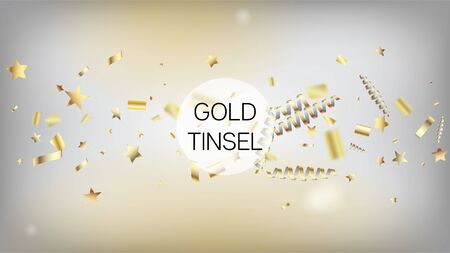 Modern New Year Confetti Realistic Falling Golden Tinsel. Cool Elegant Christmas, New Year, Birthday Party Holiday Scatter. Horizontal Lights Explosion Background. New Year Confetti Golden Tinsel