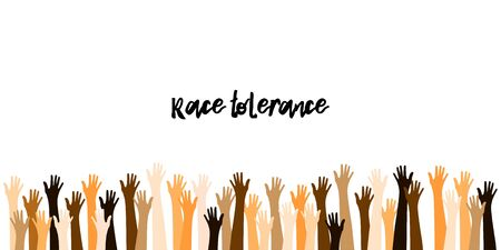 Raised Up Hands in Different Skin Colors. Refugees, Race Tolerance. Teamwork, Voting, Volunteering, Collaboration, Election. Peaceful Demonstration. World Peace Day Banner. Peace Day, Raised Up Hands.