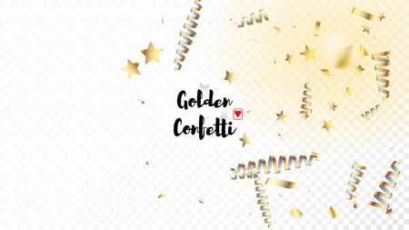 Modern Realistic Gold Tinsel Confetti, Flying Foil Blast. Cool Rich VIP Christmas, New Year, Birthday Party Holiday Pattern. Horizontal Mystical Shimmer Background. Realistic Gold Tinsel Confetti