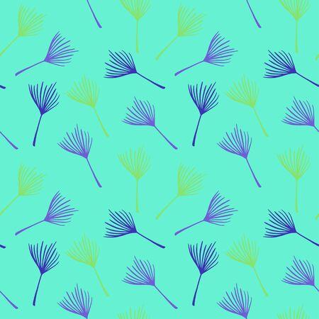 Modern Tropical Vector Seamless Pattern. Fine Summer Fabrics. Elegant Male Shirt Female Dress Texture. Doodle Floral Background. Dandelion Banana Leaves Feather Monstera Tropical Seamless Pattern.
