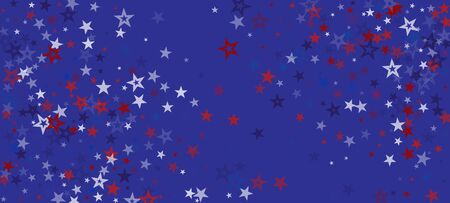 National American Stars Vector Background. USA Labor 11th of November 4th of July Independence Memorial Veteran's President's Day Design. US Election Pattern. American Blue, Red, White Falling Stars. Ilustração