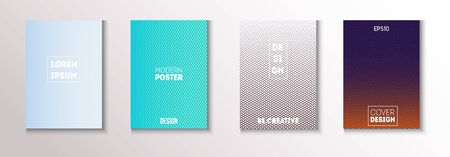 Wavy Minimal Cover Vector Set. Funky Magazine Page. Cool Technology Background. 80s Neon Music Poster. Textured Gradient Overlay Business Folder. Minimal Covers Set. Modern Flyer Texture Design. Ilustração