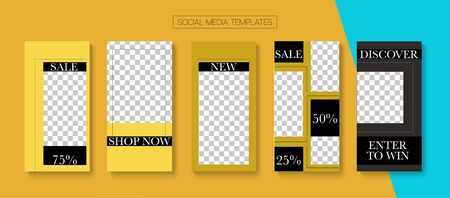Social Stories Cool Vector Layout. Minimal Sale, New Arrivals Story Layout. Blogger Modern Frame, Social Media Kit Template. Online Shop Rich VIP Graphic Mobile. Social Media Stories VIP Layout