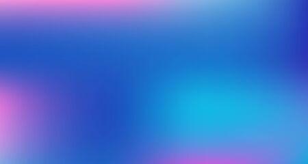 Blue Purple Pink Digital Gradient Background. Elegant Colorful Vibrant Unfocused Horizontal Banner. Fluorescent Noble Vector Color Overlay. Liquid Neon Bright Trendy Wallpaper. 80s Glam Gradient Paper Vectores