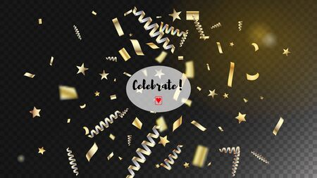 Modern Luxury Confetti, Isolated Stars, Tinsel Falling. Horizontal Fairy Night Sky Background. Cool Rich VIP Christmas, New Year, Birthday Party Holiday Border. Luxury Confetti, Isolated Gold