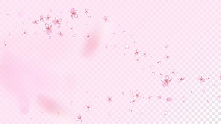 Nice Sakura Blossom Isolated Vector. Spring Blowing 3d Petals Wedding Pattern. Japanese Blooming Flowers Wallpaper. Valentine, Mother's Day Magic Nice Sakura Blossom Isolated on Rose Vectores