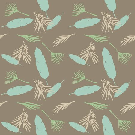 Hipster Tropical Vector Seamless Pattern. Feather Banana Leaves Dandelion Monstera Tropical Seamless Pattern. Painted Floral Background. Beautiful Male Shirt Female Dress Texture. Cool Summer Fashion. 일러스트