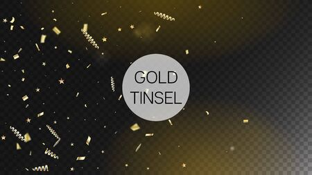 Modern Gold Explosion, Stars, Streamers, Tinsel Burst. Horizontal Dotted Glitter Background. Cool Rich VIP Christmas, New Year, Birthday Party Holiday Garland. Gold Explosion, Streamers Burst.